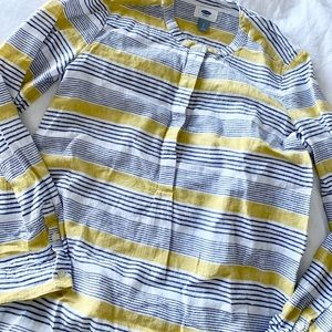 OLD NAVY navy + mustard striped tunic shirt